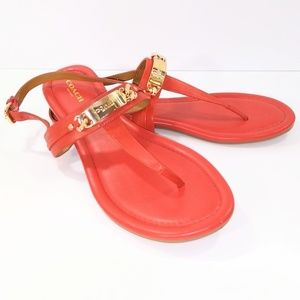Coach Catherine Red T-strap Sandals Size 8B